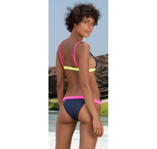 Bikini triangle marine détails fluo rose/jaune - MIRA
