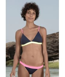 Navy bikini with flashy pink/yellow edges - MIRA