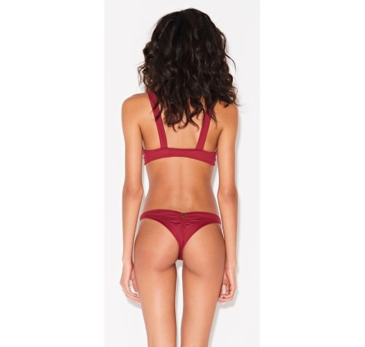 Dark red scrunch bikini with a bow - NÓ VERMELHO