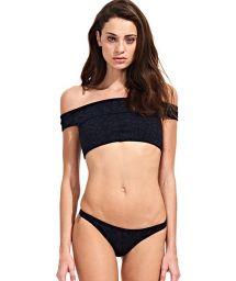 Black Leopard Off Shoulder Crop Top Bikini - ONÇA PRETA