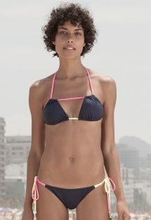 Navy Brazilian bikini with flashy pink/yellow ties - PONTEIRA