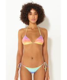 Luxury rainbow print side-tie Brazilian bikini - SIDE-TIE RAINBOW CLOUD