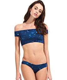 Starlit night Bardot collar crop top bikini - SKY AZUL