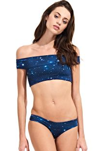 Crop top-bikini med Bardot-krage, stjernehimmelmønster - SKY AZUL
