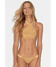 Gold crop-top bikini with cross-back - SOL DA MANHA