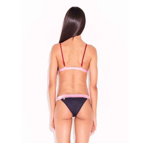 Schwarz/rosa/roter Luxus-Triangel-Bikini - SPLASH