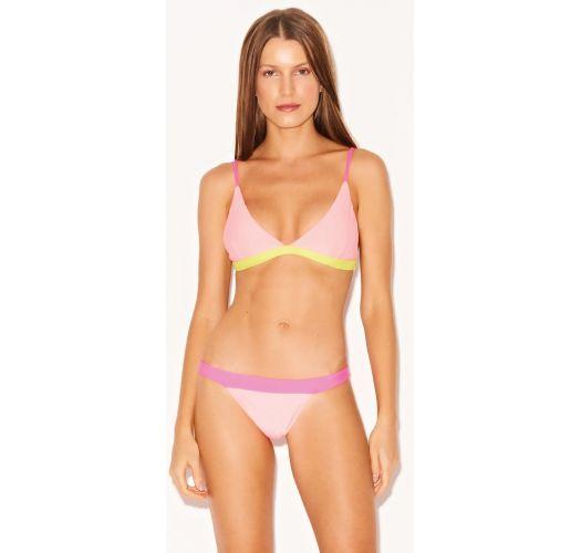 Leuchtrosa Luxus-Triangel-Bikini, dreifarbig - SPLASH MIRA NEON
