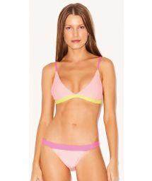 Bikini triangle fixe luxe tricolore rose fluo - SPLASH MIRA NEON
