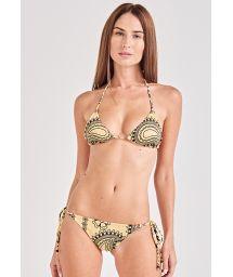 Bikini brésilien scrunch jaune motifs bandana - SUN KISS BANDANA