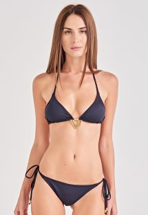 Black accessorized triangle bikini - SUN KISS PRETO