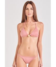 Pink triangle bikini with a golden leaf - SUN KISSED ROSE