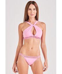 Veilchenfarbener Crop-Top-Bikini, Lochmuster - TORCIDO LILAS
