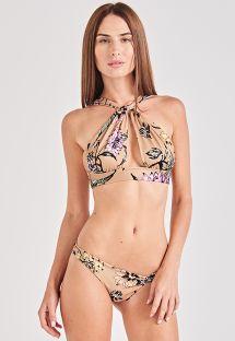 Floral nude twisted crop top bikini - TORCIDO PAK GARDEN