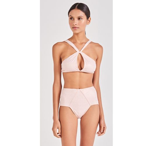Nude spotted crop top bikini straight stripes - TORCIDO ROSE