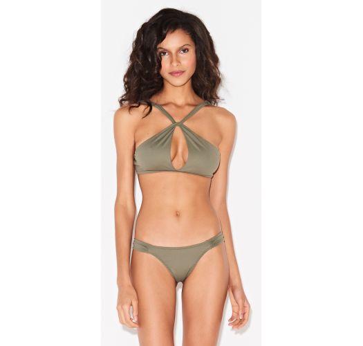 Khakifarbener fester Brazilian Luxus-Bikini - TORCIDO TRIYA VERDE