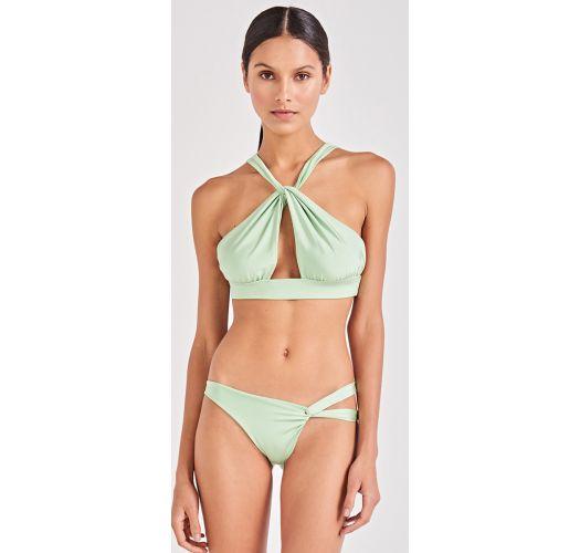 Light green crop top bikini twisted effect - TORCIDO VERDE