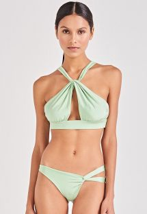 Light green crop top bikini twisted effect - TORCIDO VERDE