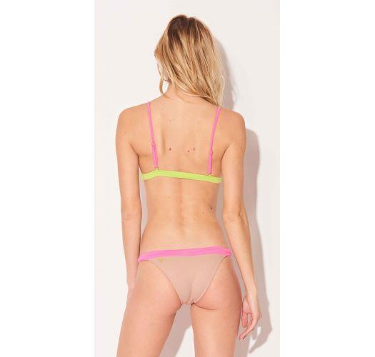 Nude pink yellow fixed triangle bikini - TRANGULO TRICOLOR