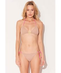 Nude beige Brazilian bikini with yellow & pink ties - TRANGULO TRICOLOR BEIGE