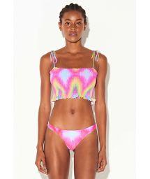Pink tie-dye smocked crop top bikini - TUBO TIE DYE RAINBOW