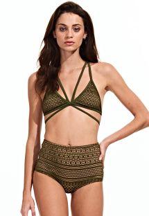 Korkeavyötäröinen bikini, uniikki yläosa - VERDE MILITAR