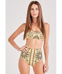 Gul bikini med hög midja och bandana-motiv - VINTAGE BANDANA
