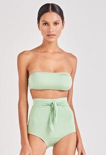 Light green high-waisted bikini with bandeau top - VINTAGE VERDE