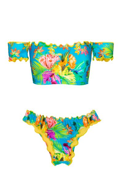 Bandeau bikini in tropical flower print with sleeves - TROPICAL BLUE OMBRO A OMBRO