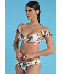 Vit tropisk balconette bikini med volanger - BOMBOM ESTAMPADA