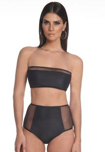 Black high-waisted bikini bandeau with transparencies - FAIXA COM TULE