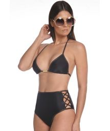 Black high-waisted bikini with shining borders - LUREX DOURADO