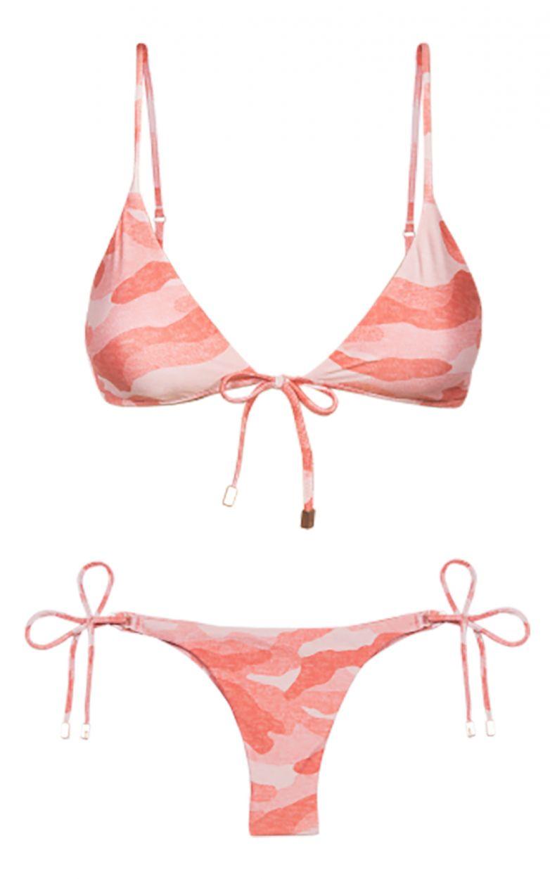 Accessorized pink camo side-tie Brazilian bikini - BRALETTE CAMU