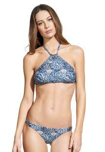 Bikini i blått växtmönster med crop topp-överdel - JAKARTA THAI HALTER