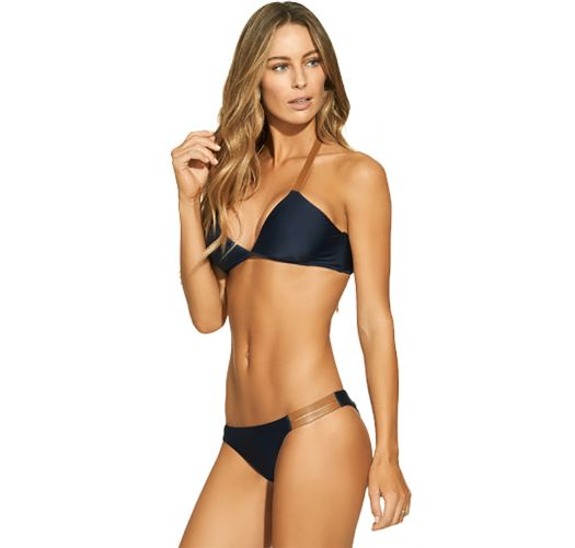 Navy luxurious Brazilian bikini with contrasting straps and ties - LISA CELINE INDIGO