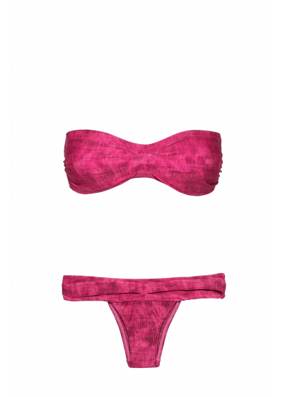 Fuchsia pink Brazilian bikini with tie-dye effect - PLEATS BANDEAU FUCSIA