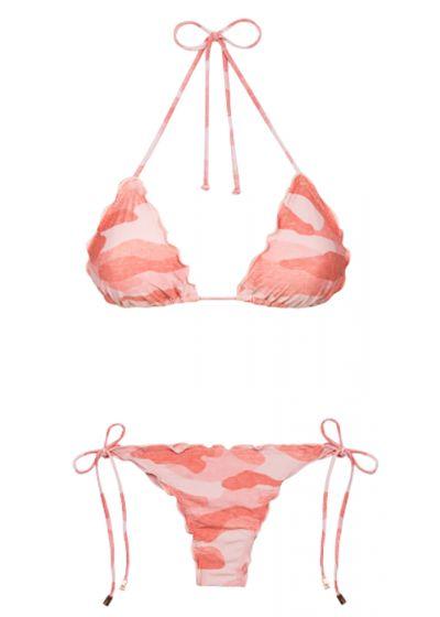 Accessorized pink camo scrunch Brazilian bikini - RIPPLE CAMU