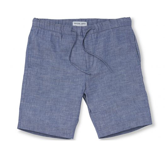 Blue beach shorts 100% linen with pockets - SPORT LINEN SHORT MELANGE BLUE