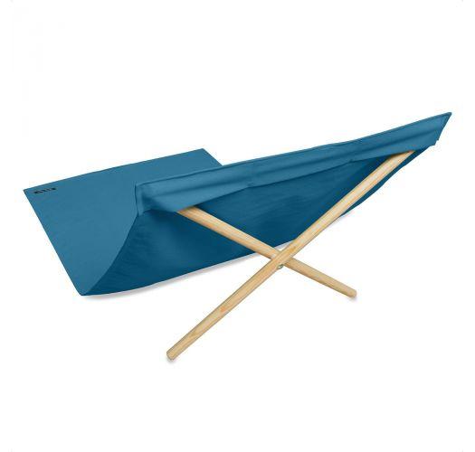 Transat bleu en toile et pin, 140x70cm - NEO TRANSAT BLEU DE PRUSSE