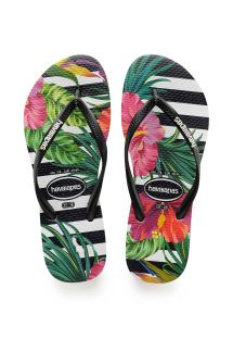 HAVAIANAS SLIM TROPICAL FLORAL BLACK/BLACK/IMPERIAL PALACE