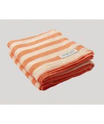 STRIPE LINEN BEACH TOWEL ORANGE & OFF WHITE