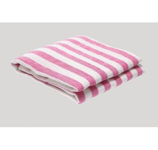 STRIPE LINEN BEACH TOWEL PINK & WHITE