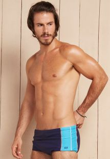 Navy blue/sky blue sunga swimming trunks with overstitching - ABSTRACT AZUL