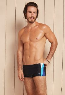 Black sunga bathing trunks with tricoloured sides - ALPHA