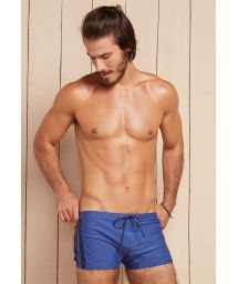 Denim blue boxer bathing trunks with cord - ALPHA PERSEI