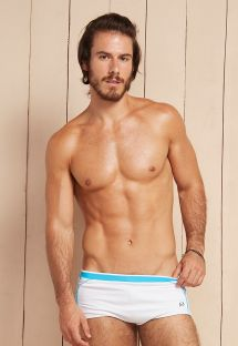 White sunga swimming trunks with sky blue bands - AQUILES