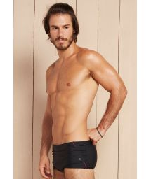Black sunga swimming trunks with red detailing and pocket - ARCTURUS