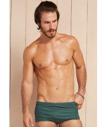 Dark green men&#39s sunga swimming trunks with blue border - BANDEIRA VERDE