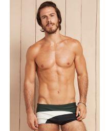 Green/white/black men`s sunga swimming trunks - BONSAI