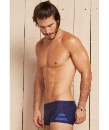 Navy sunga swim shorts with blue side stripes - DAGMAR