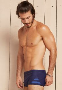 Navy sunga swim shorts with blue side stripes - DAGMAR